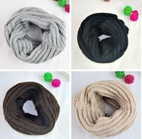 Wholesale 2015 Fashion Autumn style Winter Scarf Women Warm Knit Neck Circle Wool Blend Cowl Snood Ring Scarves Short Scarf Shawl Wrap