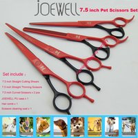 joewell scissors - 7 inch Titanium Color JOEWELL Hair Cutting Thinning Curved Scissors Set Japanese SUS440C Steel Pet Grooming Tools for Dog