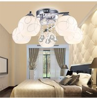 Wholesale AC85 V Glass Ceiling Lights E12 E14 E27 Non Dimmable Surface Mounted Crystal Ceiling Lights Fit for Bedroom Sale ws