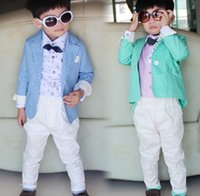 western suits - Korean Gentleman Boy s Outfits Polk Dot Western Style Coats White Trousers Sets Spring Formal Suits March Promotion Children Wear J4429