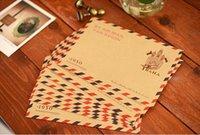 Papelería sobre de papel Baratos-Torre de papel para sobres sobres matasellos retro papel marrón. Envolvente conjunto lindo papelería por mayor