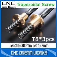 Wholesale 3pcs mm trapezoidal screw T8 with trapezoidal screw nut Lead mm CN896