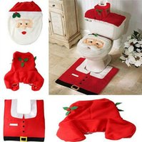 Cheap Christmas Toilet Seat Cover and Rug set Foot Pad Brushed Santa Claus Xmas Decorations Bathroom set hign quality