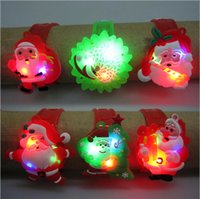 Wholesale Christmas Children kids gifts LED plastic watches Flash sparkle light Santa Claus bracelet wristband snowman lights bangle best selling