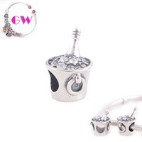Cheap Cup 925 silver jewelry Silver Gift Crystal Beads Occasions 925 sterling silver charms fit European Bracelets No90 Free Shipping T048