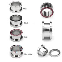 ear stretching kit - New Arrivel Stainless Steel Mix Gem Crystal Ear Plugs Tunnels Cool Men Cheap Ear Piercing Jewelry Stretching Kits mm