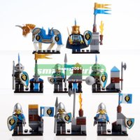 age of castle - of Middle Ages blue lion Warriors soldier Castle Building Blicks Block Toys MINI Figures Compatible With lg Particles
