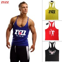 Wholesale Tank Top Men Brand ZYZZ GASP Gold Gym Fitness Singlets Bodybuilding Stringer Clothing Muscle Shirt Vest Regata Masculina Clothes