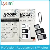 Wholesale 4 In SIM Card Adapter Micro SIM Card Adapter For I phone I phone S SIM Card Needle eject pin key with Retail Box