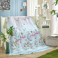 Wholesale Floral print quilted Quilt mulberry silk Comforter queen king size Blanket super soft Duvet for spring Autum