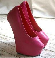 Wholesale Dropshipping by DHL Handmade Custom Hot Pink Color CM Heelless women high heels platform pumps