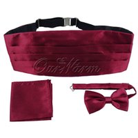 army clothing accessories - Mens Gentlemen Satin Cummerbund Bow Tie Pocket Square Hanky Set Formal Tuxedo Prom Wedding Decoration Clothes Accessories