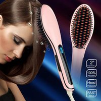 Cheap Brand Hair Straightening Brush Comb Professional Hair Styling Tool Electric AUTO LCD Temperature EU US UK AU Plug With Retail Box