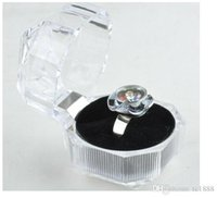Wholesale Transparent Imitated Crystal Ring Box women girl gift Acrylic Jewelry Box Stud Earrings Gift Boxes Jewelry Box Dustproof Plug Boxes