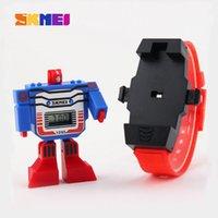 Wholesale SKMEI Kids LED Digital Children Watch Cartoon Sports Watches Relogio Relojes Robot Transformation Toys Boys Wristwatches