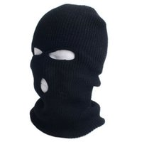 balaclava hats - 2015 New Full Ski Mask Three Hole Balaclava Knit Hat Winter Snow Beanie Stretch Cap
