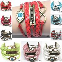 Wholesale Infinity Bracelet Leather Weave Multilayer Bracelets hundreds Styles Available Mix Colour Vintage Bracelets Charm Bracelets