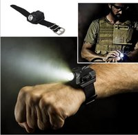 Wholesale Tactical R2 Rechargeable LED Flashlight and compass Wrist Light Lamp Waterproof Portable Mini Torch Lamp for outdoor Camping Hiking
