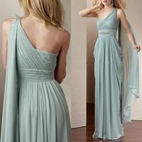 aqua maxi dress - Cheap Aqua Long Bridesmaid Dresses One Shoulder Maxi Dress Floor Length Pleated Plus Size Crystals Sash Wedding Formal Dresses J923