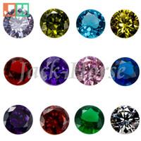 Wholesale High quality CZ birthstone charms locket charms round floating locket birthstone