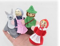 baby riding toys - little red riding hood finger puppets a set of plush wooden doll mother tell baby story A