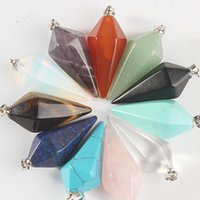 Wholesale Natural Crystal Hexagonal Point Pendant Chakra Gemstone Jewelry Necklace Beads fashion jewelry statement jewelry set women s fashion pendant