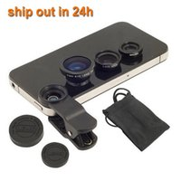 Wholesale Universal Clip Lens Mobile Phone Lens Wide Lens Macro Lens Fish Eye Lens For for iphone S G S C iPhone S3 i9300 S4 S5 Note