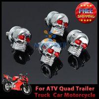 atv trailer accessories - 4pcs Chrome Motorcycle Skull License Plate Frame Bolts Screws Caps Motorcycle ATV Quad Trailer Hotrod Ratrod Car Truck order lt no tra