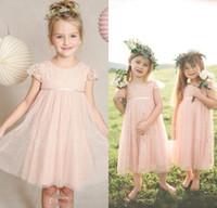 baby blue dresses for juniors - Vintage Pink Junior Flower Girls Dresses For Weddings Children Little Baby Pageant Skirt Lace Tulle Kids Long Garden Prom Formal Gowns