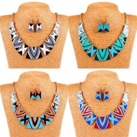 bib necklace earring set - Wicker Furniture Tank in1 Womens Tribal Jacquard Geometric Printed Bib Statement Collar Necklace with Earring Set for Party Wedding Snow