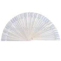 Wholesale 50Pcs set Display Board Fan Foldable White Natural False Nail Art Tips Sticks Polish Fan Practice Tool