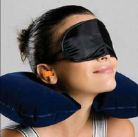 Wholesale in1 Travel Set Inflatable Neck Air Cushion Pillow eye mask Ear Plug Comfortable business trip