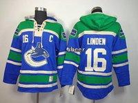 Wholesale Vancouver Linden Blue Hockey Hoodies Mens Hockey Hoodies Blue Hoodies Outdoor Jacket Cheap American Ice Hockey Sports hoodies