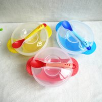 Wholesale Child tableware baby sucker dishes For kids gravity bowl slip resistant wall suction bowl puick soft head spoon set
