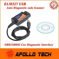 Wholesale Factory Wholesales OBD OBDII scanner ELM car diagnostic interface scan tool ELM327 USB supports all OBD II protocols Free A3