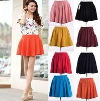 pleated skirt - plus size Spring summer skirt short half length skirt high waist sheds pleated basic skirt saias femininas skirts women1069