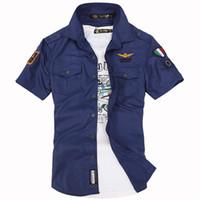 armbands for shirts - Summer Style Mens Short Sleeve Shirt Cotton Embroidery Armband Air Force Shirts For Men Casual Camisa Social Masculina