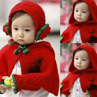 Wholesale pieces set Baby Child Hooded cloak Hat earcap baby Hooded scarf hat scarf Red Xmas Gift
