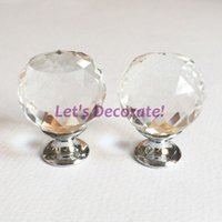 Wholesale mm Clear K9 Crystal Drawer Knobs Handles With Zinc Base Chrome Finish For Furniture