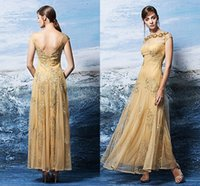 beaded sheath promdresses - Gold Elegant PromDresses Short Sleeves Tulle Floor Length Beads Crystal Wedding Party Gowns Celebrity Dress Evening Party Gowns Plus Size ZY
