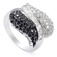Cheap Romantic S-1150 sz#6 7 8 9 Beautiful Black and White CZ Cubic Zirconia Wholesale S 925 sterling Silver Punk ring