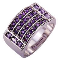 Wholesale Bohemia Style New Fashion Gorgeous Women Jewelry Round Cut Purple Amethyst Silver Ring Size