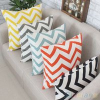 Wholesale Ripple Chevron Zig Wave Linen Cotton Cushion Cover Home Decor Throw Pillow Case