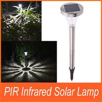 Wholesale Outdoor Solar Powered PIR Infrared Motion Light Sensor Garden Stainless Steel White Light Lamp Landscape Lawn Path Yard Park order lt no t