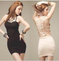 Cheap 2015 cheap sexy club dresses Nightclubs Party Halter Hollow Crochet Chest pad dress princess costume sexy plus size club dresses