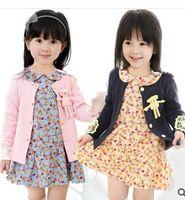 bear cardigan - 2015 new autumn girl kintted sweater Cardigan with little bear fashion girl outwear