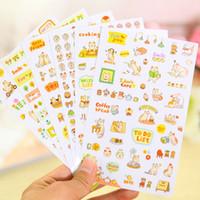 Wholesale 6 sheets set DIY Cute Cartoon Cat Paper Sticker for Scrapbooking Diary Kids Children