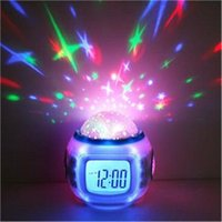 Wholesale Music Romantic Alarm Clock Colorful LED Night Light Starry Star Sky Projector with Calendar Thermometer for Children s Christmas Gift