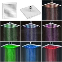 Wholesale 7 Color Changing Rainfall Shower Head quot Square Temperature Sensor LED Light Water Saving Bath Shower Bathroom Product