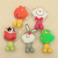 Wholesale 1Pcs Cute Cartoon Animal Silicone Toothbrush Holder Wall Bathroom Hanger Suction Hooks Cup Styles